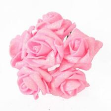 Full Glittered Foam Roses Artificial Flowers Bling Glittery Shiny Fake Silk Baby Pink