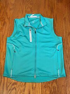 Zero Restriction Tour Series Full Zip Golf Vest Large Green Pockets Zip Chord