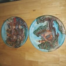 Set Of Two Decorative Country Theme Wall Plates Collectible Home Decor