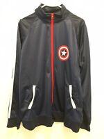 Marvel Mens XL Captain America Long Sleeve Full Zip Track Jacket Blue Avengers