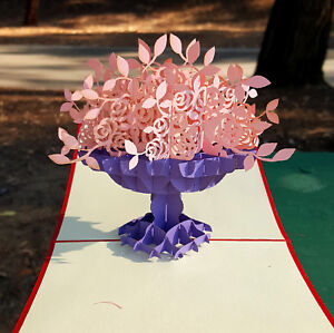 1 Popup 3D Pink Cherry Flower Purple Vase Mother's Day Greeting Card & Love 5x7