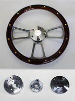 "68 Chevrolet Camaro Mahogany Wood w/rivets Billet Steering Wheel 14"" Bowtie Cap"