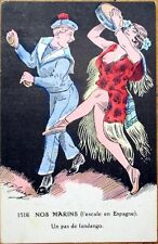 1915 Jarry/Artist-Signed Postcard: Sailor & Topless/Nude Dancer - Risque