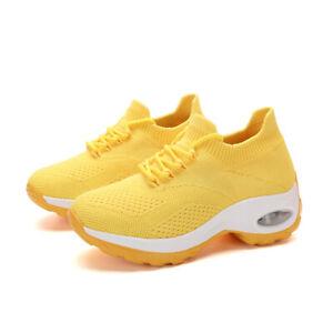 Women Lady Sport Sneakers Air Cushion Slip on Walking Jogging Running Sock Shoes