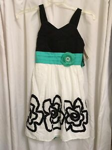 NWT Sequin Hearts Black Teal White Embroidered Ribbon Dress Girls 14