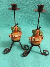 """Set Of 2 Pear """"Poire"""" /Black Metal Candle Holder By Voghell"""