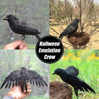 Lifelike Scary Raven Crow Prop Simulated Realistic Bird Home Decorn Halloween AU