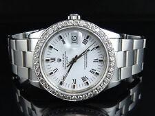 Original Rolex Date 15210 Oyster 34 MM Unisex White Dial Diamond Watch 2.5 Ct