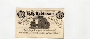Obsolete Five Cents 5C - H. H. Robinson Note - Butler County Ohio
