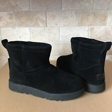 UGG Classic Mini Black Waterproof Suede Sheepskin Ankle Boots Size US 7 Womens