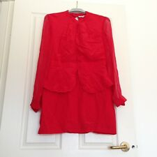 Maurie & Eve Long Sleeve Red Sexy Open Front And Back Chiffon Dress Size 12