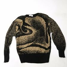 Vtg 80's Abstract Gold & Black New Wave Jumper Sweater New Years Eve