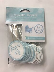 """Baby Shower Cupcake Toppers """"It's A Boy!""""/Baby Carriage-12 Count-Blue And White"""
