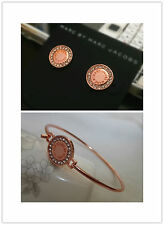 New Hot Marc By Marc Jacobs Rose Gold Disc Letters Bracelet Earrings #J0033
