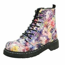 Floral Synthetic Leather Lace Up Boots for Women