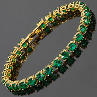 Xmas 26x6mm Round Cut Green Emerald Dainty Gem 18K Gold Plated Tennis Bracelet