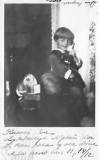 B4099 Denmark Little Children talking on the telephone 1924  front/back scan