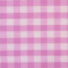 "Pink & White 1/4"" / 7 mm Gingham Check Polycotton Fabric (Per Metre)"