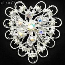 NEW SILVER HEART FLOWER PIN BROOCH DIAMANTE CRYSTAL WEDDING PARTY CAKE BROACH UK