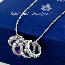 18K White GOLD Filled Lucky Rings NECKLACE Genuine SWAROVSKI CRYSTAL X4109 Gift