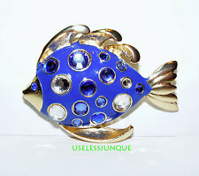 GOLD PLATED FISH PIN BROOCH  WITH RHINESTONES  #3334