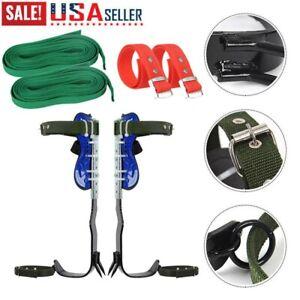 Tree Climbing Spike KIT Safety Adjustable Belt Lanyard Rope Rescue Belt 2Gears