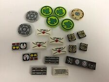 Used Lego Lot Of 21 Printed Tiles: Gauges, Keyboard, Compass, Mail, Etc