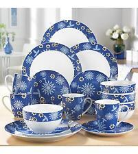 5b2251abc845 32 Pc Porcelain Blue White Dinner Set Service Oriental Crockery