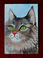 "Original art by Bastet ""Green-eyed Cat"" OOAK hand painted ACEO"