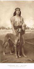Slave Girl w/ Dog Hound Pet Print Picture Saintpierre Aux Ecoules Native Woman
