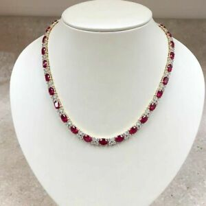 4Ct Oval Cut Ruby And Diamond Tennis Necklace 14K Yellow Gold Over L323