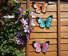 Hot 3 of Metal Colourful Butterflies Wall Art Garden Fence Home Ornament Decor