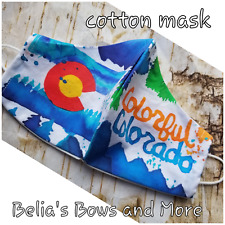Colorful Colorado.Adult Large. Washable Fabric Mask with pocket