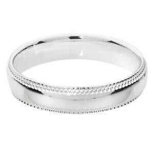 4mm Traditional Court Millgrain Edge Wedding Ring 925 Sterling Silver Sizes J-Z