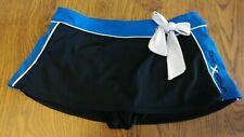 Girls ZeroXposur Swim Skirt size 8 Black Nylon Spandex w Sapphire Stripe