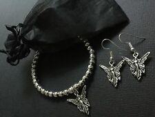 ANGEL WINGS silver stretch Beaded bracelet And FREE Earrings Boho Bijoux