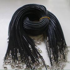 10 x PU-Leder-Runde Thong Halsbänder - Hummer-Haken Schwarz