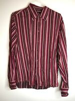4 You Scandinavia Mens Size XL Red Pink Shirt Striped Button Front Long Sleeve