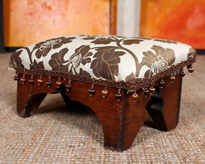 Antique Stool Upholstered Stool Gypsy Boho