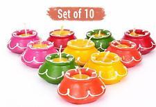 Handmade Waxed Clay Diya Set 10 pcs for Home Indoor Outdoor Diwali Decoration