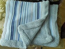 CIRCO BABY BLANKET COTTON KNIT BLUE STRIPES WITH GRAY POLY SHERPA  VGUC