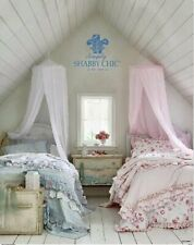 Retired Simply Shabby Chic RUFFLED Romantic Blue QUILT KING