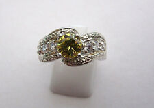 925 Sterling Silver Citrine And White Topaz Ring UK P, US 7.50 (rg1414)