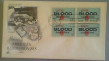 First day of issue, 1971 Honoring Blood Donors, block of 4, Scott #  1425