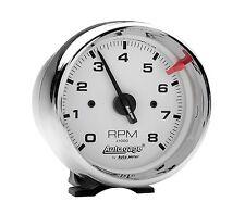 """Auto Meter 2304 Autogage Tachometer 3-3/4"""" White Face 8000 RPM Chrome Case"""