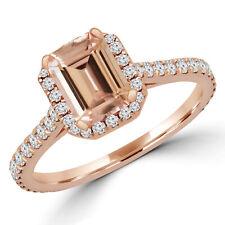 1.23 CT PINK EMERALD MORGANITE HALO ENGAGEMENT RING 14K ROSE GOLD
