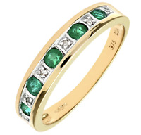 9CT YELLOW GOLD EMERALD & DIAMOND ETERNITY RING - ALL SIZES - NEW
