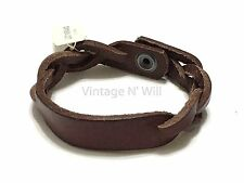 Lucky Brand Jeans Brown Woven Leather Partially Braided Cuff Bracelet Snap Close