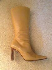 Osvaldo Pericoli Camel Leather Boots Designer Made In Italy EU35 Uk  2.5