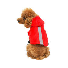 Waterproof Rain Coat with Hood & Safe Reflective Strips for Dog Size L Red